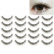 10 Pairs F-8 Criss-Cross Cotton Stem Natural Makeup Lashes Charming Long Thick Black False Eyelashes