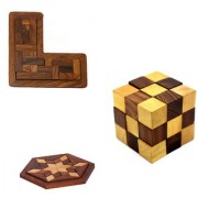 Phirk Craft Wooden Puzzle Game Set Of Three L shape Cube Hexagon Shape Puzzle