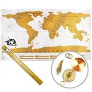 Scratch Off World Map with a Gold Compass: Best Gift for Travelers - Deluxe World Travel Map You can Scratch Off - With Handy and Stylish Scratch Tools and a Sturdy Travel Tube