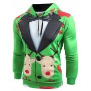 Rosegal Sweat-Shirt à Capuche Pullover avec Imprimé Faux-Costume de Noël XL