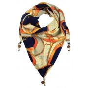 Shelly trojúhelníkový šátek s potiskem tmavě modrá