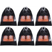 Kuber Industries Shoe Printed Non Woven 6 Pieces Shoe Cover/Shoe beg (Black)-CTKTC13386 CTKTC013386(Black)