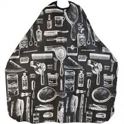 trixes Adult Patterned Black Salon Hairdressing Barbers Cape Body Gown Perfect for Cutting, Colouring, Highlights, etc by