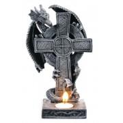 Bougeoir dragon et croix celtique