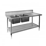 Stainless Steel Sink Bench 1800 W x 600 D with Double Left Bowls and 150mm Splashback