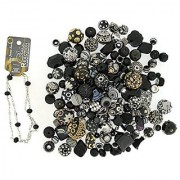 Jesse James Beads 9228 Premium Black Bead Mix - Plus Free 18 Beaded Chain Black
