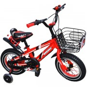 """Bicicleta pentru copii cu roti ajutatoare din silicon, sticla pentru apa, leduri si USB , 14"""" BBG Rosu"""