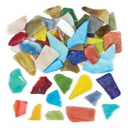 Glass Mosaics - 2kg box of coloured glass mosaic pieces, assorted shapes and sizes.