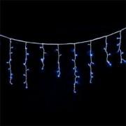 Instalatie de Craciun tip perdea cu franjuri inegali lungime 10m 340 LED-uri albastre