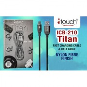 itouch Titan Heavy Duty V8 Android Fast Charging Data Transfer Cable Fabric Type (Random Colour 1 Pc)