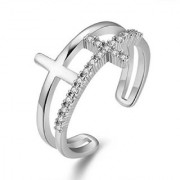 Glamourous Cross Design Cubic Zirconia Crystal Adjustable Ring For Women & Girls (Silver)