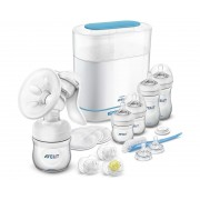 Philips Avent - Set All-in-One Sterilizator electric cu aburi 3-in-1, Pompa de san manuala, Biberoane si Accesorii