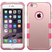 Funda Doble Protector Case Uso Rudo para iPhone 6s PLUS / iPhone 6 PLUS - Rose Gold con Hot Pink