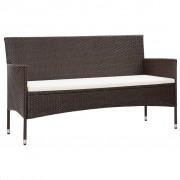 vidaXL 3-osobowa sofa ogrodowa z poduszkami, polirattan, brązowa