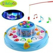 BabyGo Fish Catching Game Big with 26 Fishes and 4 Pods Fishing Game Includes Music and Lights (Blue)