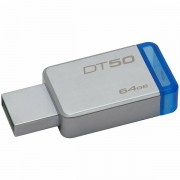 DT50/64GB - Kingston USB 64GB USB 3.0 DataTraveler 50 Metal/Blue, EAN 740617255751