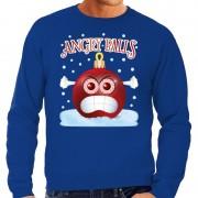 Bellatio Decorations Foute kerst sweater / trui Angry balls blauw heren