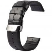 Kakapi voor Apple Watch 38mm krokodil textuur dubbele gesp lederen horlogeband alleen gebruikt in combinatie met Connectors (S-AW-3291)(Black)
