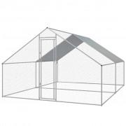 vidaXL Coteț găini de exterior, oțel galvanizat, 3 x 4 x 2 m
