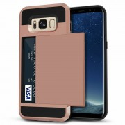 Rose Gold Slide Armor Case with Card Slot Holder For Samsung Galaxy S8