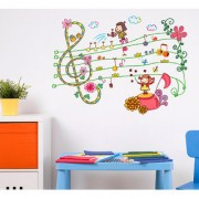 Walltola Wall Sticker- Cartoon Kids Musical Notes With Flowers And Decorative Elements Baby Room Nursery Room Vinyl ( Finished Size 105cm x 80cm)