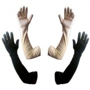 Tahiro Black Beige Cotton Full Length Gloves - Pack Of 2