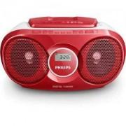 Philips CD радиокасетофон, FM/MW стерео тунер, 2 x 1 W RMS, червен, захранване от мрежата или батерии размер C (LR14) x 6/AZ215R
