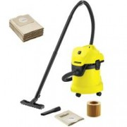 Home kit - Aspirator uscatumed Karcher WD 3 1000 W + 5 saci din hartie extra Functie de suflare GalbenNegru