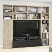 TV Wand in Sonoma-Eiche und Eiche Schwarz Braun 251 cm breit