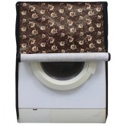 Brown And Beige Floral Waterproof & Dustproof Washing Machine Cover For Front Load Haier Hw80-Bd1626 8 Kg Washing Machine