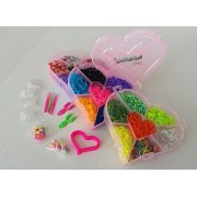 Rubber Bands For Bracelets Loom Kit - Loomeaze Crafts Rainbow Color Bands - Jewelry Wristband Maker, Heart Storage Box - Neat Organized Supplies -Free Bonus Charms For Hottest DYI craft of the Year