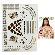 Flash Tattoo Gold and Silver Colored Chain and Abstract Pattern Temporary Tattoos