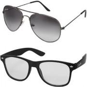 Silver Kartz Combo of 2 Wayfarer Unisex Sunglasses(scm26//Black//Clear)
