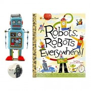 Kids Robot Gift Bundle - 3 Pieces - 1 Vintage Wind up Metal Robot Toy, 1 Robots Everywhere Book and 1 Retro Kid Decal.