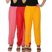 Culture the Dignity Women's Rayon Solid Casual Pants Office Trousers With Side Pockets Combo of 3 - Baby Pink - Red - Yellow - C_RPT_P2RY - Pack of 3 - Free Size