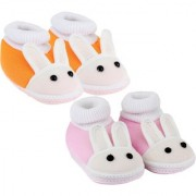 Neska Moda Pack Of 2 Baby Infant Soft Orange and Baby Pink Booties For Age Group 0 To 12 Months SK131andSK178