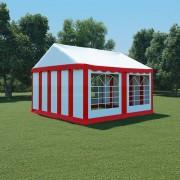 vidaXL Pavilion de grădină, roșu și alb, 4 x 4 m, PVC