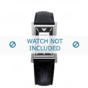 Giorgio Armani bracelet de montre AR-0158 Cuir croco Noir 23mm