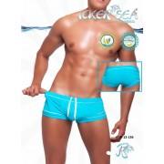 Icker Sea Tory Contrast Line Square Cut Trunk Swimwear Blue COB-12-136