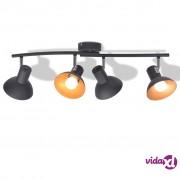 vidaXL Stropna svjetiljka za 4 žarulje E27 crno-zlatna