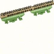 N/PE sín 1x25mm2+11x16mm2+13x10mm2, L=169mm, talpra szerelt, zöld (Hager KM25E)