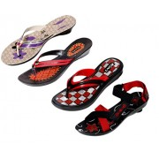 IndiWeaves Women 2 Flip Flop with 1 Slipper and 1 Sandal (Combo Pack of-4)_Black::Purple::Red::Purple_ Size: 5 Indian