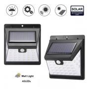 LED napelemes kültéri fény, 40 LED, érzékelővel, dimmer-rel, vezeték nélküli