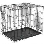 @Pet @Pet @Pet Dog Jaula de transporte para cães em metal 107x70x77,5 cm preto