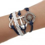 Bratara din multe straturi cu amulete alb si albastru inchis