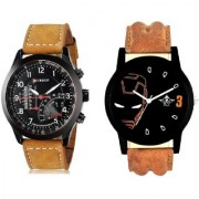 Curren Meter Leather Hand Strap And Iron Man Quartz Combo Analogue Wrist Watch By Google Hub
