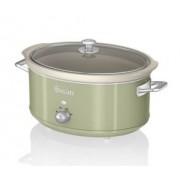 Oala electrica Slow cooker Swan SF17031GN, Retro, Capacitate 6.5 Litri, Vas ceramic, Putere 320W
