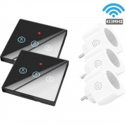 SMATRUL WHC-D07-2 433MHZ WiFi 2Pcs 3-Gang Wireless Key Switch with 3 Plug Controllers - EU Plug / Black