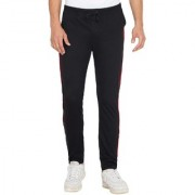 Cliths Black and Red Solid Cotton Sports Jogger for Men