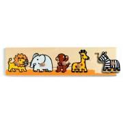 Drewniana układanka z uchwytami dla dziecka zwierzęta z dżungli DJECO DJ01111